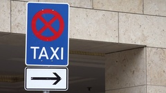 4K Taxi car parking direction way arrow in urban town forbidden street sign day Stock Footage