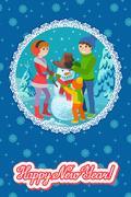 Vector illustration winter card congratulation new year. Happy family sculpts Stock Illustration