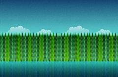 Forest, lake and sky seamless. Stock Illustration