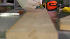 Safety measure tape and a wooden bar area Stock Footage