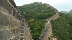 China travel tourist having fun waving hello at the Great Wall in Badaling Stock Footage