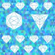 The set of linear geometric shapes. Hexagons, triangles, crystals, design  Stock Illustration