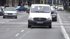 4K Heavy traffic avenue in Munich downtown people commute car pollution busy day Stock Footage