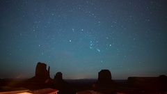Monument Valley Orionids Meteor Shower & Milky Way Galaxy Stock Footage