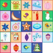 Advent calendar. Christmas poster Piirros