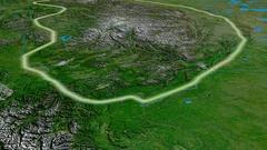 Glide over Mackenzie mountain range - glowed. Satellite imagery Stock Footage