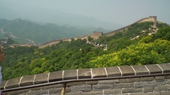 Great Wall of China - tourist on Asia travel walking on famous destination Stock Footage