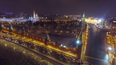 Moscow aerial Christmas New Year time night Kremlin St Basil's Cathedral, river. Stock Footage