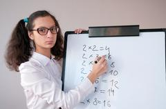 Schoolgirl with pigtails shows the multiplication table on the board Stock Photos