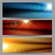 Abstract Flare Bright Shiny Banner Set Stock Illustration