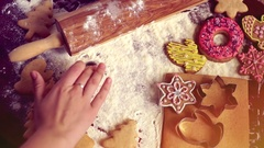 Christmas baking background. The girl writes on a table 2017 Stock Footage