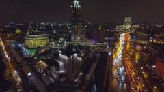 Moscow night aerial Christmas New Year time, Garden Ring, House of Music. Stock Footage