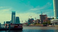 Thailand Bangkok Boats among high-rise buildings Passenger boat Stock Footage