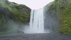 Iceland Waterfall Skogafoss in Beautiful Icelandic Landscape Stock Footage