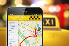 Smartphone with taxi service internet application Stock Illustration