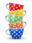 Stack of color polka dot coffee cups Stock Illustration