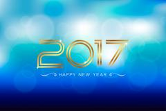 Appy new year 2017 with bokeh and lens flare pattern background. Stock Illustration