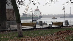 Movement river transport along the waterfront. Stock Footage