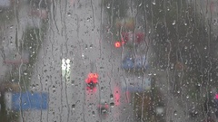 Rain, sleet, darkness, shine lanterns, shadows, shapes. Stock Footage