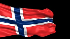 Norway flag looped with alpha channel Stock Footage