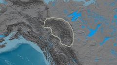 Zoom into Mackenzie mountain range - glowed. Elevation map Stock Footage