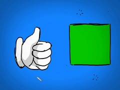 Thumb Up - Hand Drawn - Caucasian Hand - green screen - blue Stock Footage