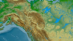 Zoom into Mackenzie mountain range - glowed. Colored physical map Stock Footage