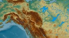 Zoom into Mackenzie mountain range - glowed. Relief map Stock Footage