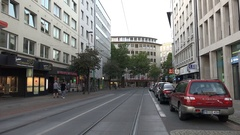 4k Bremen city center panning and street scene with tram rails Stock Footage