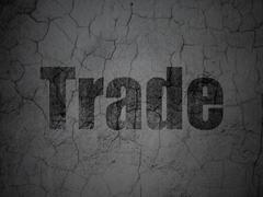 Business concept: Trade on grunge wall background Stock Illustration