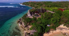 Aerial view of famous bali sight. Incredible drone round shot of temple on rock Arkistovideo