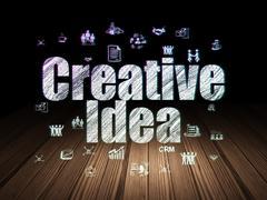 Finance concept: Creative Idea in grunge dark room Stock Illustration