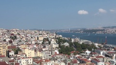 Bosphorus view from Galata Tower in Istanbul, Turkey Stock Footage