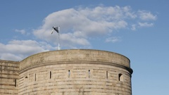 Fabric of Bretagne flag waving on the castle tower in Nantes Stock Footage