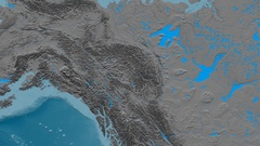 Zoom into Mackenzie mountain range - masks. Elevation map Stock Footage