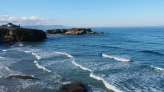 Os Castros Beach in Ribadeo, Spain Stock Footage