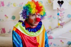 Upset lonely clown. Kuvituskuvat