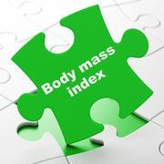 Medicine concept: Body Mass Index on puzzle background Stock Illustration