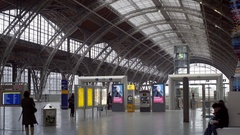 Way to Sbahn platform, Leipzig Hauptbahnhof central train station, Germany Stock Footage