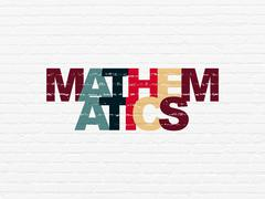 Education concept: Mathematics on wall background Stock Illustration
