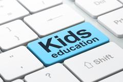 Studying concept: Kids Education on computer keyboard background Stock Illustration