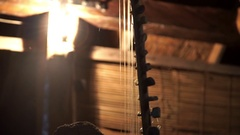 Musician plays the kora, traditional African musical instrument.  Detail Stock Footage