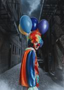 Clown with a bunch of balloons standing in alley. Kuvituskuvat