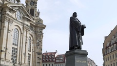 Martin Luther statue in front of Dresden Frauenkirche church, side, Germany Stock Footage