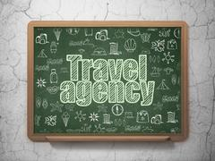Travel concept: Travel Agency on School board background Stock Illustration