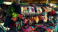 Thailand Bangkok Handbags Wallets souvenirs. Asian variety of Stock Footage