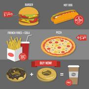 Fast food price set poster vector label Stock Illustration