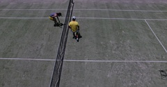 Preparation on tennis court Stock Footage