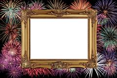 Golden picture frame with celebrate firework background Stock Photos