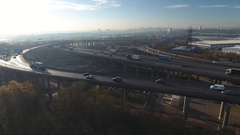 Low aerial view of Spaghetti Junction in Birmingham, UK. Stock Footage